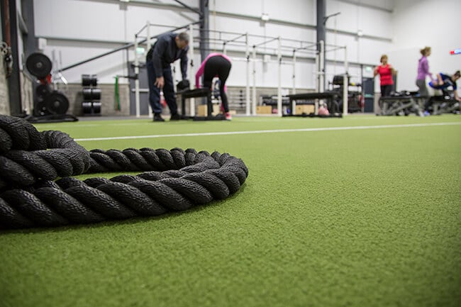 Low shot of the gym rope